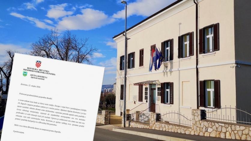 Kostrena uputila pismo podrške Zagrebu