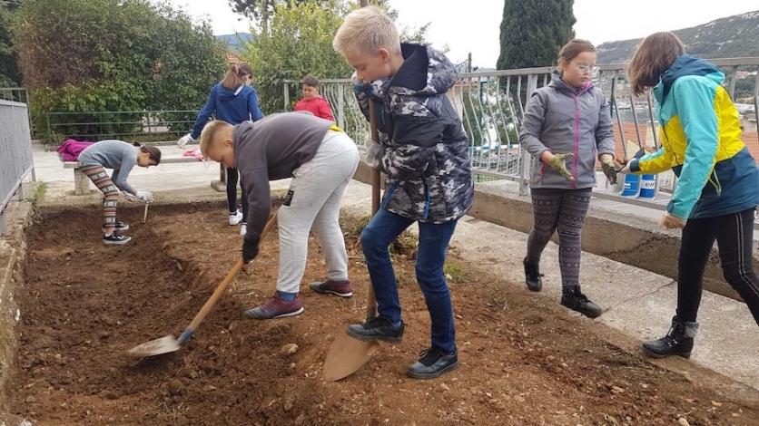 Vrijedni bakarski učenici uređuju školski vrt
